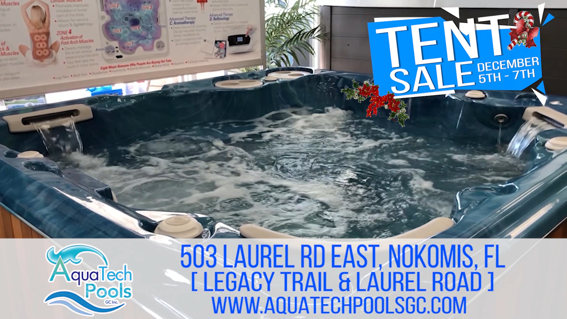 Holiday Tent Sale - hot tubs, patio furniture, pool pumps, heaters