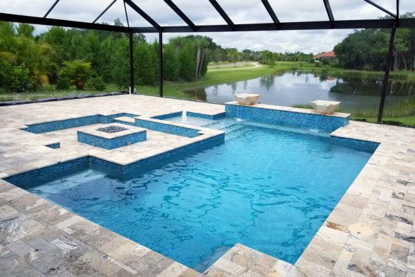 Concrete Residential Geometric Design Award Winner Pool Builder in Venice, FL.