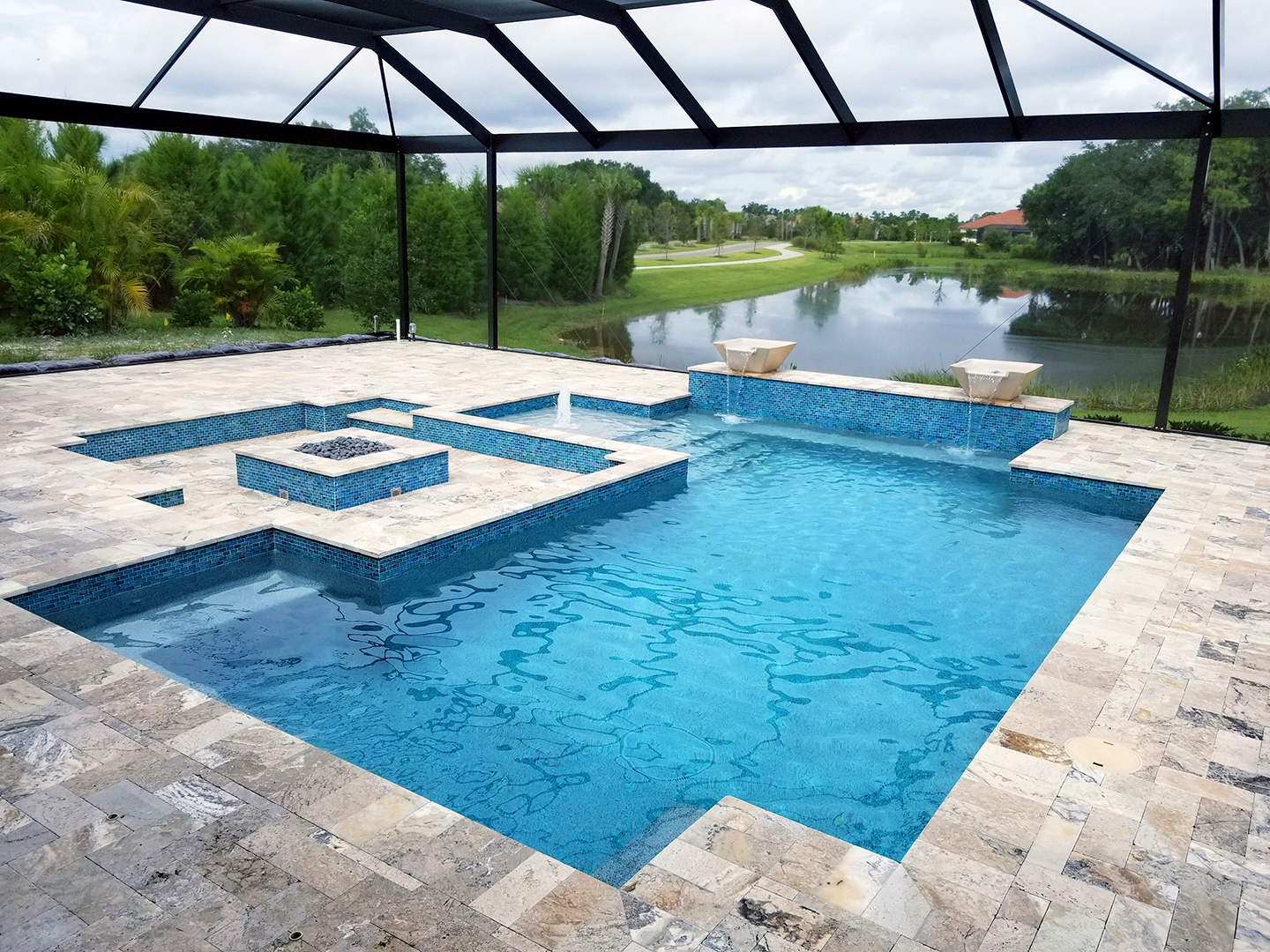 Concrete Residential Geometric Design Award Winner Pool Builder in Venice, FL.